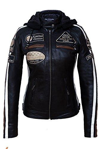 Chaqueta Moto Mujer de Cuero Urban Leather '58 LADIES' | Chaqueta Cuero Mujer | Cazadora Moto de Piel de Cordero | Armadura Removible para Espalda, Hombros y Codos Aprobada por la CE |Negro |