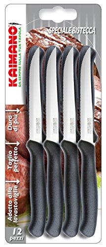 Kaimano Italicus Steakmesser, Edelstahl, Schwarz, 28 x 10 x 2 cm, 12-Einheiten