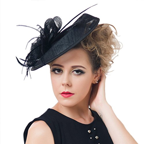 CLOCOLOR Sombrero Tocado fascinator de pelo con pluma de moda Accesorios del...