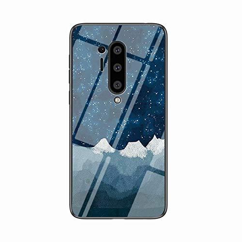 Miagon Glas Handyhülle für OnePlus 8 Pro,Himmel Serie 9H Panzerglas Rückseite mit Weicher Silikon Rahmen Kratzresistent Bumper Hülle für OnePlus 8 Pro,Blau