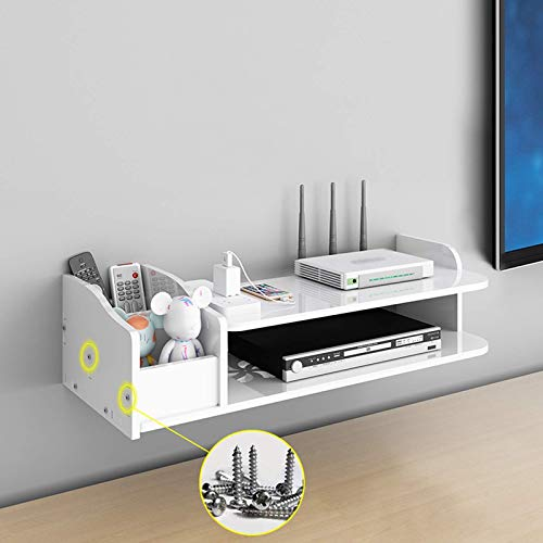 JHSHENGSHI TV Component Floating Shelf with Remote Control Box, White Wall Mounted Media Console Shelf for Living Room Bedroom
