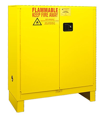 Durham 1030ML-50 Flammable Safety Cabinet with 2 Manual Door and Legs, 43' x 18' x 50', 30 gal Capacity, Yellow