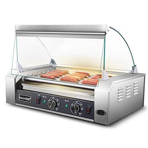 Grill-Kocher-Maschine, Handelselektrischer Wurst-Grill-Würstchen-Grill-Kocher 7 Rollen, Edelstahl-Wärmer-Rolle mit Abdeckung, für Snack-Riegel