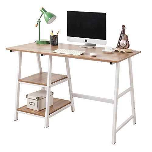 soges 120 × 60 × 75 cm Escritorio de la computadora Escritorio de caballete Escritura Escritorio de la oficina doméstica Estación de trabajo con estante,Tplus-OK