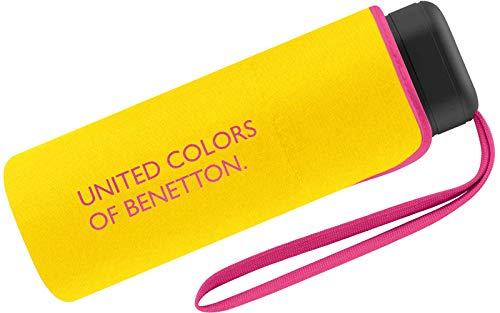 Benetton Regenschirm Schirm Taschenschirm klein flach & leicht (Yellow)