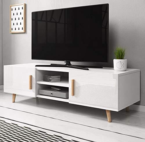 GuenstigEinrichten TV-Lowboard in Hochglanz weiß und Buche massiv Fernsehtisch Norway2 skandinavisch 140 x 50 cm