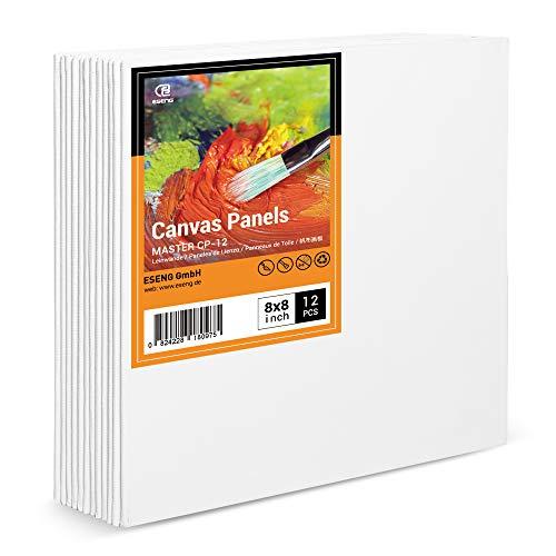 ESENG® Panel de lienzo 12 unidades, 20x20 cm|8x8 pulgadas, 100% algodón, juego de paneles de lienzo, cartón para pintura acrílica, pintura al óleo, tempera y gouache
