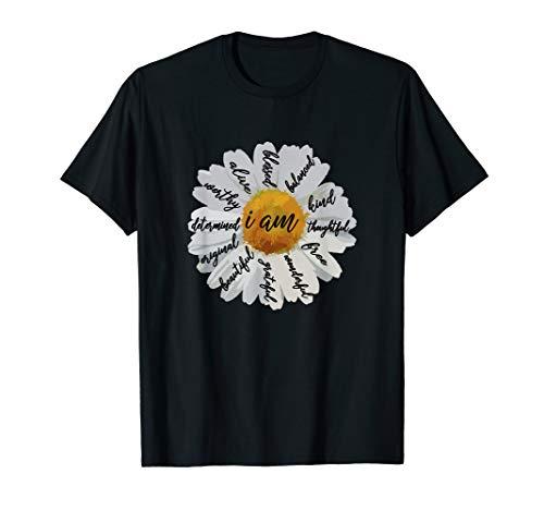 Motivational T Shirts Women-Positive Affirmation I AM Daisy T-Shirt