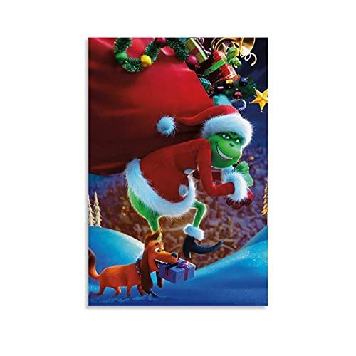 The Grinch Dress Up Santa Divertido póster de baño artístico enmarcado arte de la pared de pinturas al óleo, impresiones en lienzo para el hogar 50 x 75 cm