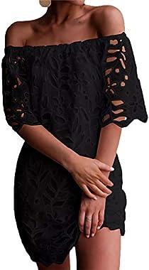 PRETTYGARDEN Women's Sexy Off Shoulder Vintage Floral Lace Flare Short Sleeve Loose Elegant Mini Dress
