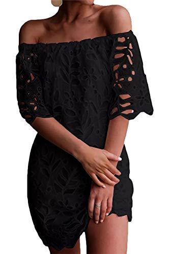 PRETTYGARDEN Women's Sexy Off Shoulder Vintage Floral Lace Flare Short Sleeve Loose Elegant Mini Dress Black