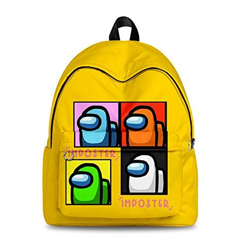 Mochila de Juego A`mong Us Mochila de Viaje con impresión Digital en Color 3D Mochila de Ordenador de la Escuela universitaria Mochila para niñas y niños Camping al Aire Libre,B