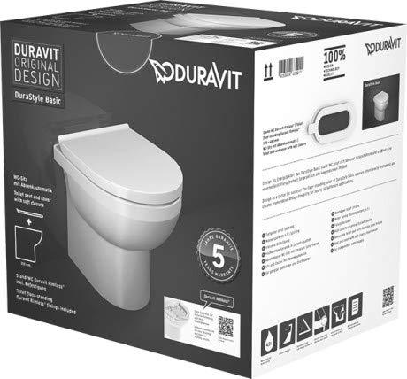 Duravit DuraStyle Basic Stand-WC Rimless® Set 418409, Abgang waagrecht, für variablen Wasserzulauf - 41840900A1
