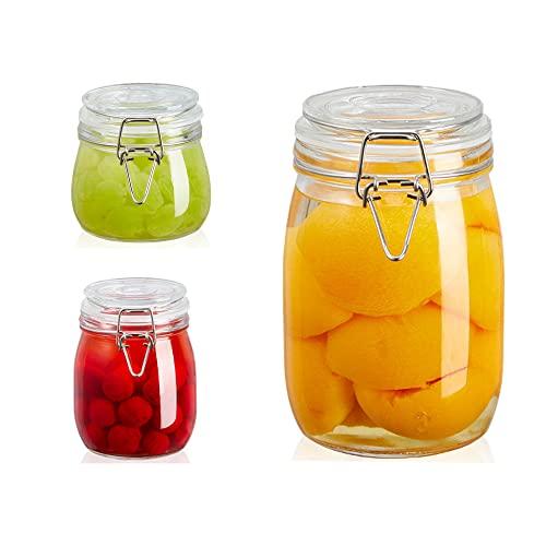 Set di 3 barattoli in vetro con coperchio, 2250 ml, anelli in silicone sigillati ispessiti ermetici, in acciaio inox con chiusura a clip, per cucina, cereali e zucchero