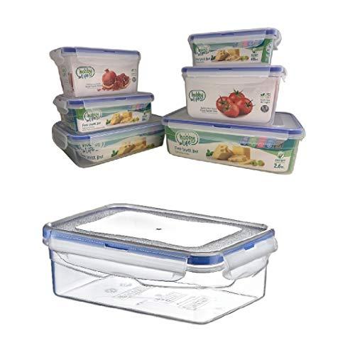 Megaprom 0,4 Liter Frischhaltedosen Aufbewahrungsdosen Vorratsdosen Gefrierdosen Brotdose Lunchbox mit 4-Fach Klickverschluss