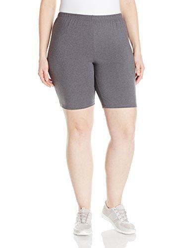 Just My Size Women's Plus-Size Stretch Jersey Bike Short, Charcoal Heather, 2X
