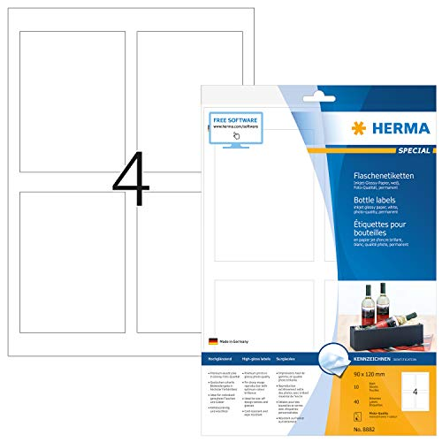 Herma 8882 - Paquete de 40 etiquetas adhesivas rectangulares (90 x 120 mm, especiales para botellas), color blanco brillante