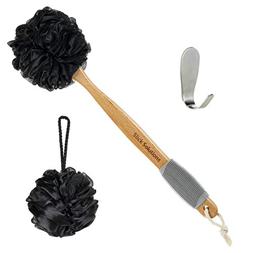 Slick- Loofah with Handle, Loofah Back Scrubber, Back Loofah, Loofah Brush with Long Handle, Loofah on A Stick, Shower Loofah with Handle, Shower Supplies, Loofah Scrubber, Loofah Back Scrubber