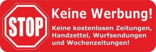 Sticker / Briefkastenaufkleber - STOP KEINE WERBUNG! - Gel-Beschichtung mit 3D Effekt (Doming) - 8 STÜCK rot - Größe: 68mm x 22mm