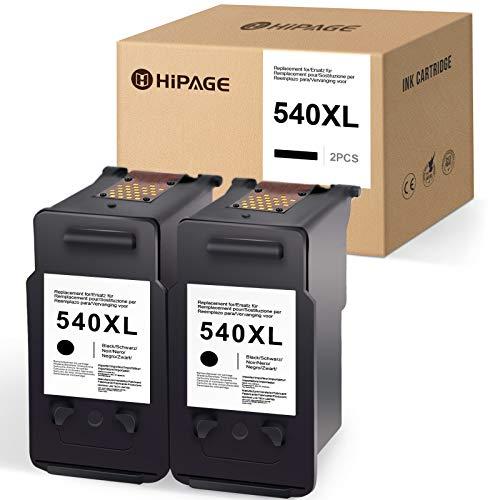 HIPAGE 540xl Compatible para Canon PG-540 XL 540 XL Cartuchos de Impresora para Canon PIXMA TS5150 MX475 TS5151 MX395 MG2150 MG2250 MG3150 MG4150 MG4250(2 Negro)