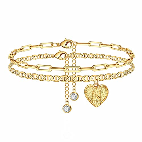 Yesteel N Initial Ankle Bracelets for Women, Heart Ankle Bracelet Gold Beach Anklet Bracelet for Teen Girls, Cute Alphabet Gold Anklets for Women with Initial Fashion Ankle Jewelry