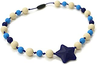Star Silicone Oral Sensory Autism Chewable Chew Necklace 20'' - Bitey Beads (Blue Star)