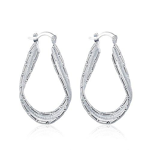 Acxico Fashion 925 Sterling Silver Flat U Shape Hoop Earrings for Women, Large