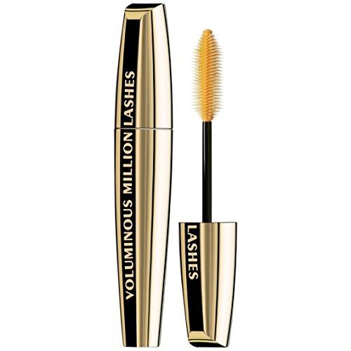 L'Oreal Paris Makeup Voluminous Million Lashes Mascara, Volumizing, Defining, Smudge-Proof, Clump-Free Lengthening, Collagen Infused Eye Makeup, Amplifying Mascara Brush, Blackest Black, 0.3 Fl Oz