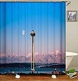 DINGQING Kleine Stadt Am See. Duschvorhang: 180X180 cm. Badezimmervorhang Mit Haken. 12 C-Förmige Haken. Polyester. Badezimmer Wasserdichter Duschvorhang.