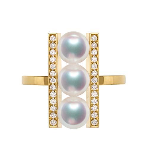 Daesar Anillo de Mujer Oro con Diamante Anillo Oro Amarillo 18 Kilates Tres Perlas Blancas con Diamante Anillo Talla 8