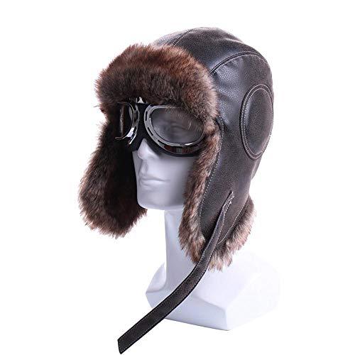 Wijider Uschanka Russische Mütze Winter Bomber Hats Earflap Russischen Stil Mit Brille Männer Frauen Trapper Aviator Pilot Hut Leder Snow Caps B S