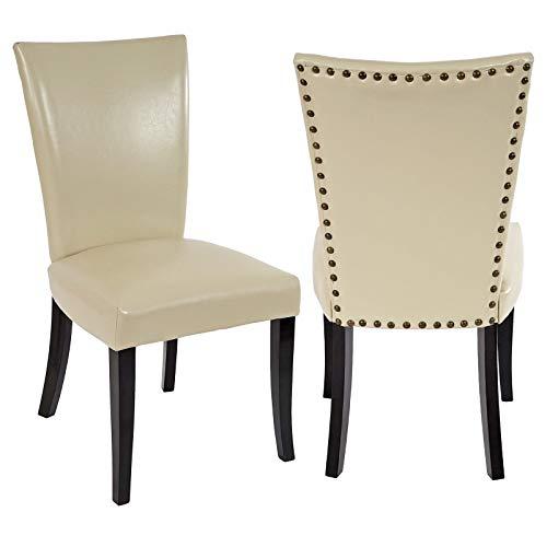 Preisvergleich Produktbild Mendler 2X Esszimmerstuhl Chesterfield,  Stuhl Küchenstuhl,  Nieten ~ Kunstleder,  Creme,  dunkle Beine