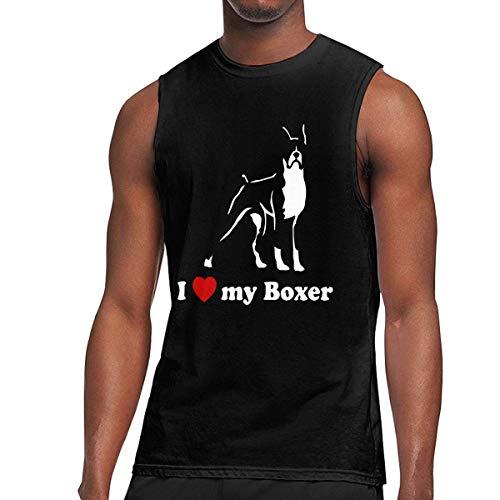 TYUHN Camisa sin Mangas para Hombre I Love My Boxer Muscle, Chaleco Holgado para Correr