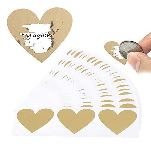 FLOFIA 80pz Gratta e Vinci Adesivi Cuore Personalizzato Etichette Adesive Scratch Sticker per Matrimonio Biglietti d'Inviti Auguri 30x35mm Oro