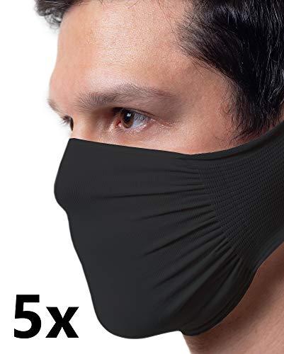 5 x Banda protectora negra, impermeable, bacteriostática, poliamida lavable y reutilizable Masqarillas, paquete de 5