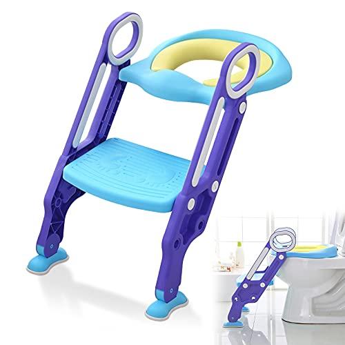 LZQ Adaptador WC Niños con Escalera, Escalera Asiento Escalera del Tocador de Niños Asiento Inodoro Niños Ajustable para Orinal Infantil Formación, Seguro, Antideslizante Azul
