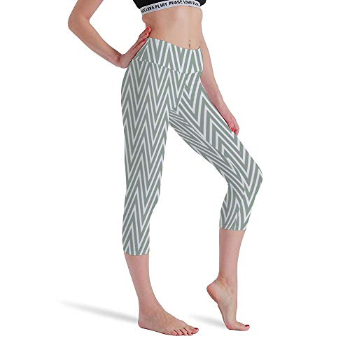 DKISEE Vrouwen Hoge Taille Zeven Punten Yoga Broek Lichtgroene Strepen Gedrukte Sportbroek Leggings Hardlopen Gym Sweatpants voor Vrouwen