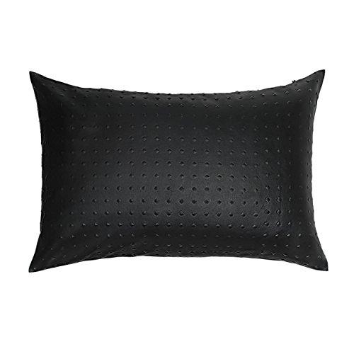 Black Velvet Studio Funda cojín Snake Polipiel, Color Negro. Suave Piel de imitación 30x45 cm.