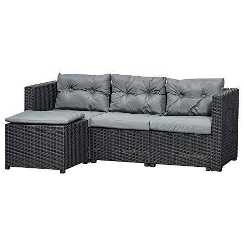 divano da giardino Outsunny Set Mobili da Giardino in Rattan PE Divano 3 Posti e Poggiapiedi/Tavolino