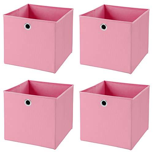 Stick&Shine 4X Aufbewahrungs Korb Rosa Faltbox 32 x 32 x 32 cm Regalkorb faltbar