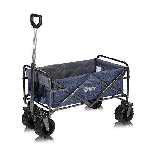 Sekey Folding Wagon Cart Beach Cart Collapsible Outdoor Utility Wagon Heavy Duty Wagon Collapsible Wagon with All-Terrain Wide Wheels and Telescopic Handle, 176 Pound Capacity, Dark Blue