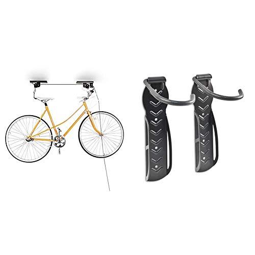 Relaxdays Fahrradaufhängung, Fahrradlift, bis 20 kg, Fahrrad Deckenhalter, mit Seilzug, für Garage und Keller, schwarz & Fahrradhalterung 2er Set, Fahrrad Wandhalterung, Zum Aufhängen, schwarz