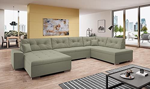 WITIS - Sofá de esquina panorámico XXL en U, ángulo derecho moderno y diseño (beige)