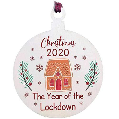 XYXDHGQD 3 Stück Weihnachtsjahr der Lockdown Holz Herz Baum Dekoration hängen, personalisierte Familie Lockdown 2020 Weihnachtskugel Ornament (A)