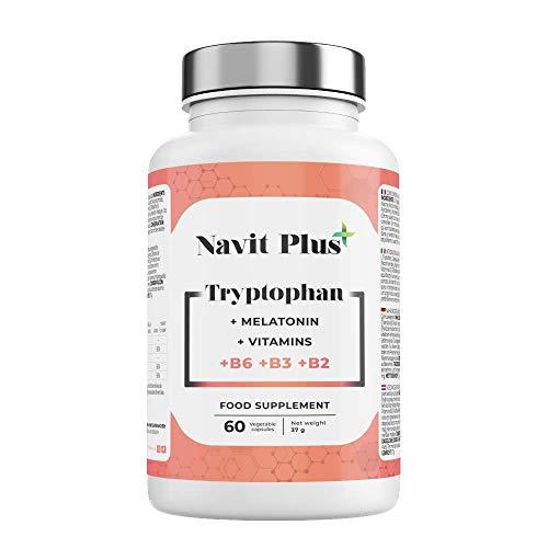 L-Triptófano de Navit Plus. Triptófano 500 mg + B6 + B3 + B2 + Melatonina |60 cápsulas vegetales | Tratamiento 2 meses | Complemento alimenticio para regular el sueño, estrés y bienestar. Fab en CE.