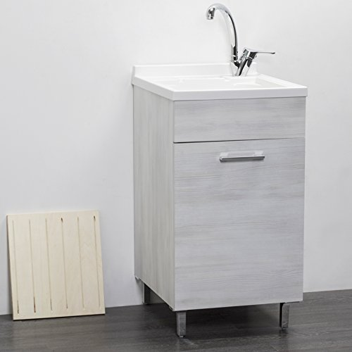 Mobile lavatoio in Legno 60x50 50x50 45x50 cm ASSE lavapanni pilozza Vasca in Resina Lavanderia (45x50 cm, Rovere Bianco)