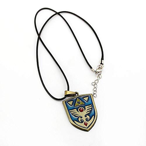 Hylian Shield Necklace For Game The Legend of Zelda Fans Pendant Alloy Metal Blue Choker Jewelry