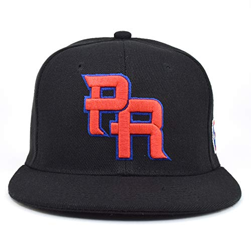 PR Fitted Two Tone Solid Caps Puerto Rico Flag Embroidered hat Front Side Back (Black/Red Emb, Large)