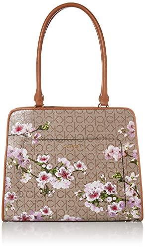 Calvin Klein Margot Textured Logo Tote, Almond/Taupe/Cherry Blossom Emboss