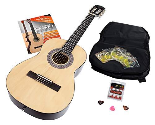 Calida Benita 7/8 Konzertgitarre Set inkl. Zubehör - Gitarre inkl. Gitarrentasche mit Schultergurt & Notenfach - Gitarrenschule mit CD & DVD, Stimmpfeife, Plektren, Ersatzsaiten - Natur